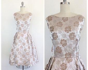 60s Taupe Satin Floral Dress - 1960s Vintage Brocade Party Dress - Medium - Size 8