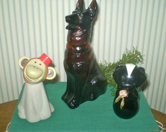 Trio of vintage AVON bottles- German Shepherd, Monkey and Skunk cologne bottles- Avon animals bottles- Monkey with hat, Dog, Skunk