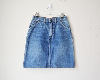 WRANGLER high waisted faded blue denim jeans mini midi skirt 80s 90s // M