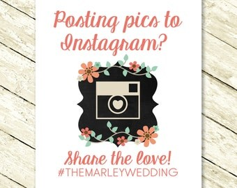 Instagram Sign for Wedding or Any Occasion - Sharing Photographs with Hashtag