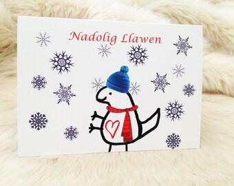 Nadolig llawen dinosaur cute christmas card. Welsh christmas card.