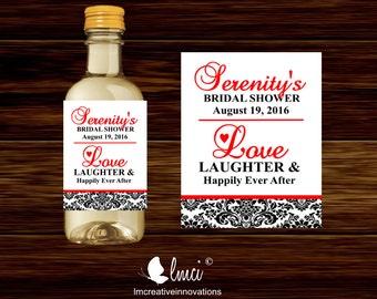 Love, Laughter, Happily Ever After Mini Wine Bottle Labels, Bridal Shower Wine Bottle Labels - Digital File or Printed Mini Labels