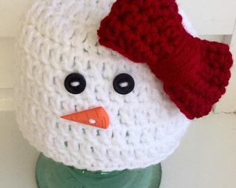 Crochet snowman hat/baby girl hat/holiday photo shoot/Christmas hat