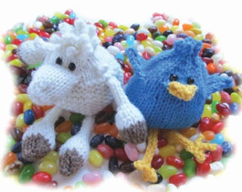Pooping Sheep and Bluebird Jelly Bean Bags Knitting Pattern