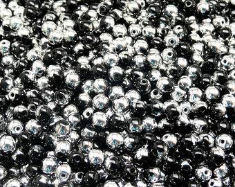 100pcs 4mm Czech Pressed Glass Beads Round , Jet Labrador (Jet Silver) (4RP052)