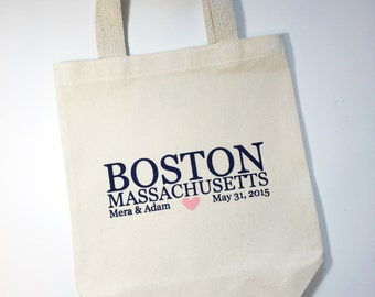 Set of 12 Boston Massachusetts Wedding Welcome Tote Bags, Personalize Totes, Bridal Party Gifts, Out of Town Guest Totes