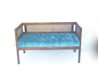 Bench with Tufted Turquoise Velvet & Rattan Cane Vintage