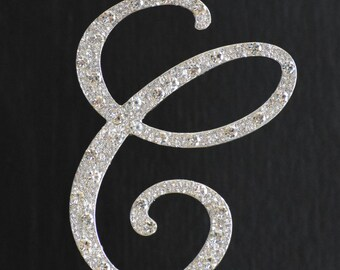 New Style Rhinestone Crystal Monogram Letter  C  Wedding Cake Topper 4 x 3.5 inches