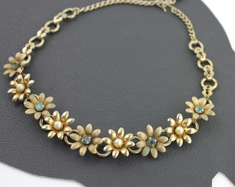 Vintage Brass Flower Sky Blue Rhinestone & Faux Pearl Necklace
