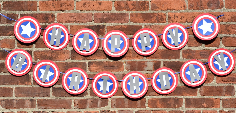 Captain America Birthday Banner