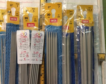 INOX, Made in Germany, Double Pointed, Knitting Needles, Steel, Aluminum, Plastic, Grey, 8 Inch, Set of 5, Original Package