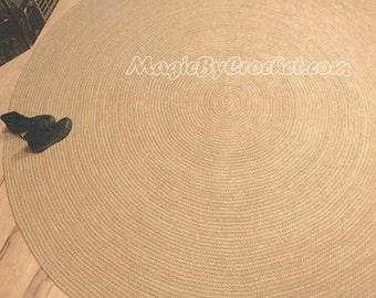 Minimalist Rug, Jute rug, Large Area Rug, Braided rug, 9 ft Rug (270cm), Round Carpet, no.057