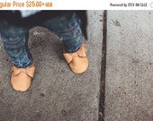ON SALE Handmade Butterscotch Brown Bow Leather  Baby Moccasins for Girls Moccs Moccasin Shoes