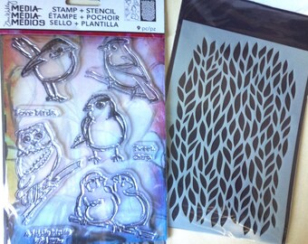 Ranger Dina Wakley Media - LITTLE BIRDIES Stamp & Stencil set - NEW 1.cc02