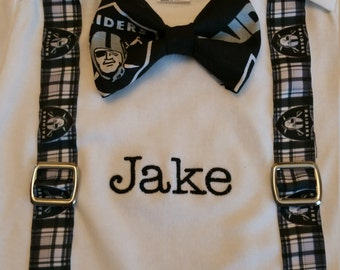 Raiders bow tie with suspenders shirt