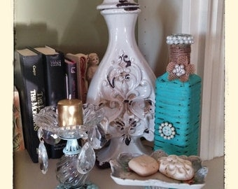 Altered bottle...Burlap, pearls, button, brooches, OOAK, Upcycled...Vintage inspired chippy bottle..Flea Market Find French Chic
