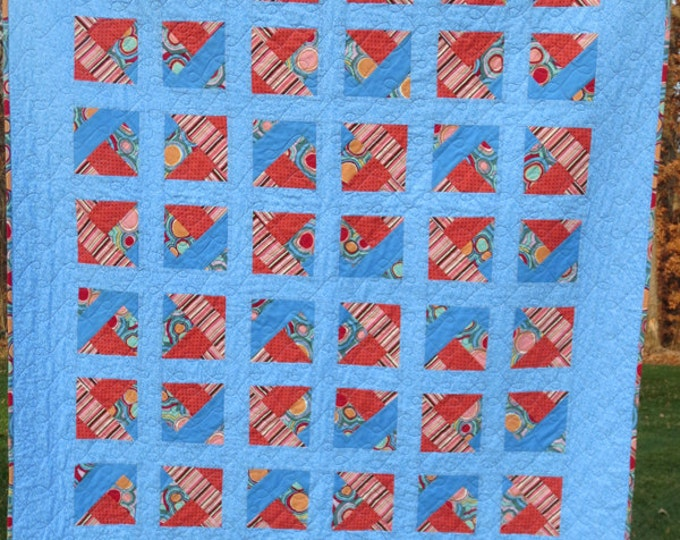 Handmade - Designer Fabric Collection - Paper Pieced Quilt/Throw - Periwinkle, Multi-Color - Ready to Ship