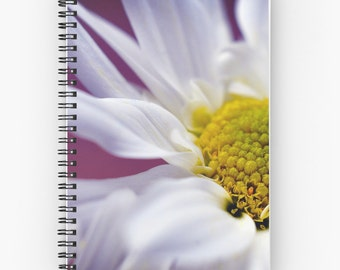 White Daisy Flower Journal Book, Floral Blank Sketchbook, Ruled Lined Diary, Blank Paper Notebook, Flower Hard Cover Book, Spiral Notebook
