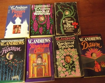 V.C. Andrews Lot of 7 Books-Flowers in the Attic-If There Be Thorns-Seeds of Yesterday-Heaven-Garden of Shadows-Dawn-Tarnished Gold