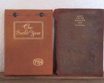 Vintage Leatherbound Books, 1895 & 1914