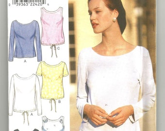 UNCUT 2982 Style Sewing Pattern Top Long/short Sleeves Sleeveless Size 8 10 12 14 16 18
