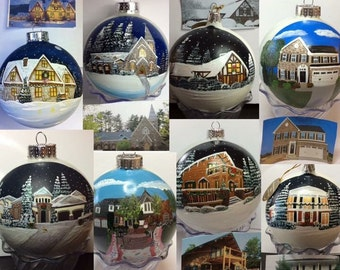 "Hand Painted House Ornaments  5"" Custom"
