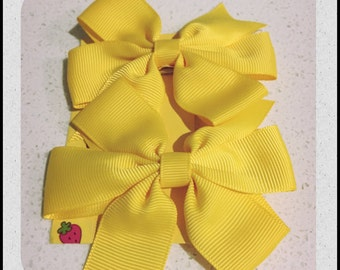 Yellow Grosgrain Ribbon Hair Bows