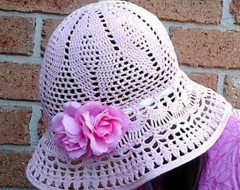 Crochet summer hat, summer hat, Panama, flower hat, crochet Panama, beach hat, cotton hat, hat for a girl