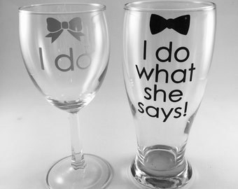 I Do I do what she says, READY TO SHIP Personalized Engagement Gift, engagement present, Bridal Shower Gift, Engagement Party, Future Mrs