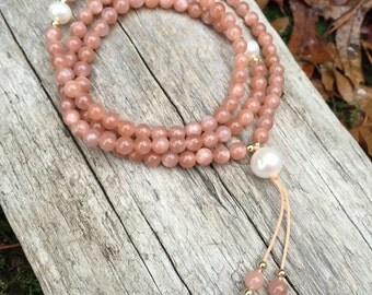 Peach Moonstone Mala with Gold and freshwater pearl Prayer beads by Bicycing Buddha YC05