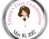 Girl Communion Hershey Kisses Sticker - Personalized First Communion Stickers