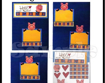 CLEARANCE SALE * Scrapbook Page Farm Animal Scrapbook Paper Layout kit DIY Premade embellishments Hogs and Kisses Paper piecing kit