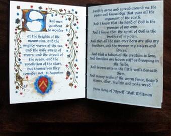 Handmade book, stocking gift,  Book Art, coptic stitch book, artist book, illustrated book, quotation, art gift