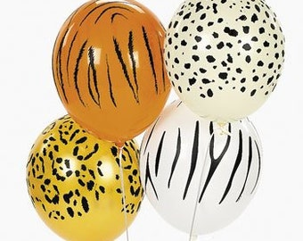 "11"" Safari Balloons / Wild / Jungle / Zoo / Animal / Birthday Party / Tiger / Cheetah / Leopard / Zebra"