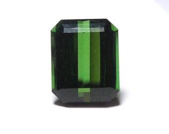 5.55 ct Emerald Cut Forest Green Tourmaline