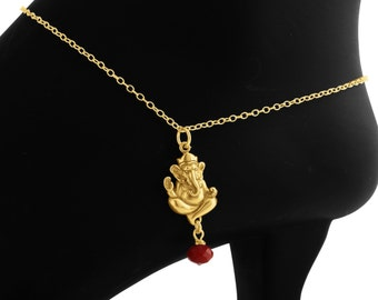 Ganesha Anklet with Red Agate Bead Gem #14k Gold Plated over 925 Sterling Silver #Azaggi A0606G