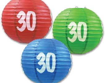 """3 Paper Lanterns 9.5"""" Dia 30th, 40th, 50th, 60th, Birthday Anniversary Party Decorations"""