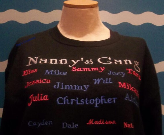 Custom Embroidery grandparent - Nanny's Gang crew sweatshirt - Embroidered grandkids sweatshirt - grandkids sweatshirt - grandparent gift