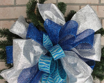 Christmas Treetop Bow Silver Blue Wreath Door Turquoise Designer Ribbon Handcrafted Florist Made