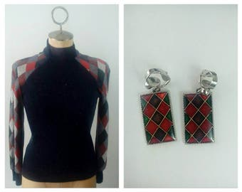 GAY GIBSON Harlequin Print Rockabilly Pinup Girl Winter Sweater and Matching Clip-on Earring Ensemble