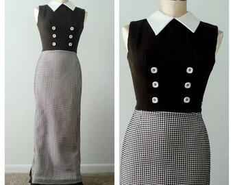 MOD GODDESS 60's Maxi Dress with Collar Vintage Dress Retro Clothing SUB134