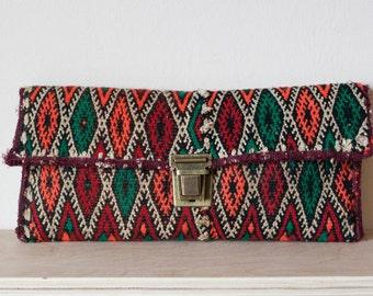 Moroccan berber kilim rug clutch bag, handmade using antique vintage textiles