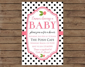 Baby Shower Invitation - Custom Baby Shower Invites - Printable - Polka Dot Chic Retro