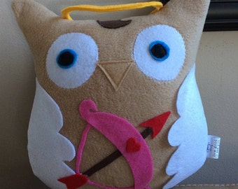 Cupid the Owl- Valentin's Day Plush Owl- Inspired by Cupid- Small Cupid Owl
