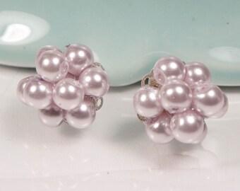Lavender Pearl Cluster Earrings, bridesmaid stud earrings, lavender wedding, cluster earrings, LAVENDER KAREN Cluster post earrings