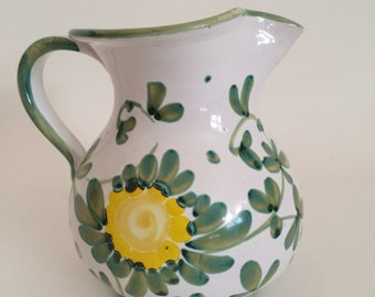 Small Milk Pitcher Italy Veitri  Green Yellow Floral