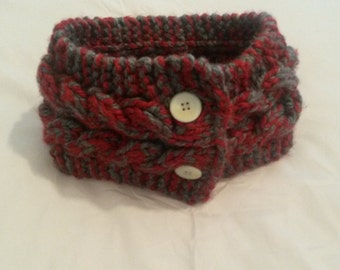 Ear Warmer - Knitted Button Closure Red/Grey - Winter