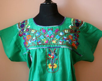 Frida Style Colorful Mexican Dress with Embroidered Flowers- Green- Summer-BOHO-Hippie