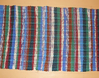 Handwoven striped cotton rag-rug