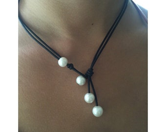 Leather pearl necklace, pearl choker,pearl necklace, ankle bracelet, leather pearl necklace, leather and pearl necklace, pearl necklace